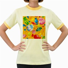 Sweets And Sugar Candies Vector  Women s Fitted Ringer T Shirts