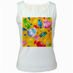 Sweets And Sugar Candies Vector  Women s White Tank Top