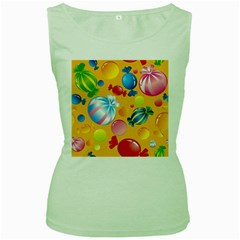 Sweets And Sugar Candies Vector  Women s Green Tank Top