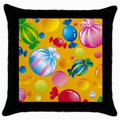 Sweets And Sugar Candies Vector  Throw Pillow Case (black)