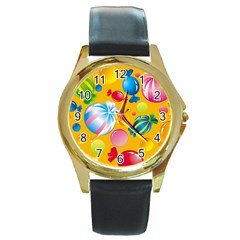Sweets And Sugar Candies Vector  Round Gold Metal Watch