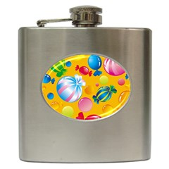 Sweets And Sugar Candies Vector  Hip Flask (6 Oz)