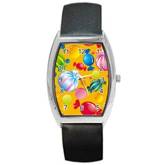 Sweets And Sugar Candies Vector  Barrel Style Metal Watch