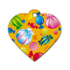 Sweets And Sugar Candies Vector  Dog Tag Heart (one Side)
