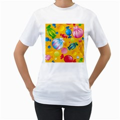 Sweets And Sugar Candies Vector  Women s T Shirt (white)