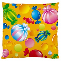 Sweets And Sugar Candies Vector  Large Flano Cushion Case (one Side)