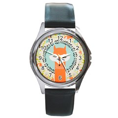 Foxy Fox Canvas Art Print Traditional Round Metal Watch