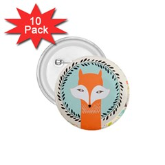 Foxy Fox Canvas Art Print Traditional 1 75  Buttons (10 Pack)