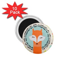 Foxy Fox Canvas Art Print Traditional 1 75  Magnets (10 Pack)