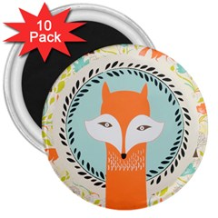 Foxy Fox Canvas Art Print Traditional 3  Magnets (10 Pack)