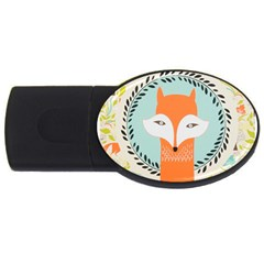 Foxy Fox Canvas Art Print Traditional Usb Flash Drive Oval (2 Gb)