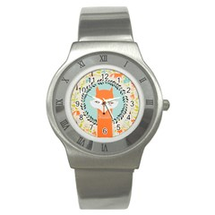 Foxy Fox Canvas Art Print Traditional Stainless Steel Watch