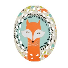 Foxy Fox Canvas Art Print Traditional Ornament (oval Filigree)