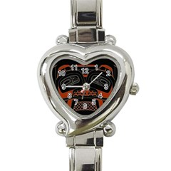 Traditional Northwest Coast Native Art Heart Italian Charm Watch