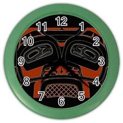 Traditional Northwest Coast Native Art Color Wall Clocks