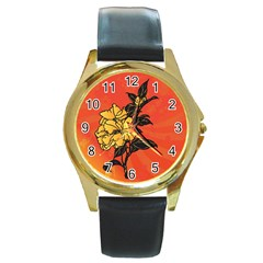 Vector Asian Flowers Round Gold Metal Watch
