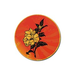 Vector Asian Flowers Rubber Round Coaster (4 Pack)