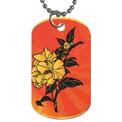 Vector Asian Flowers Dog Tag (one Side)
