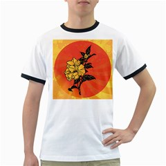 Vector Asian Flowers Ringer T Shirts