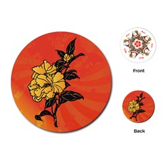 Vector Asian Flowers Playing Cards (round)