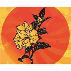 Vector Asian Flowers Canvas 8  X 10