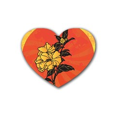 Vector Asian Flowers Rubber Coaster (heart)