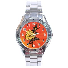 Vector Asian Flowers Stainless Steel Analogue Watch