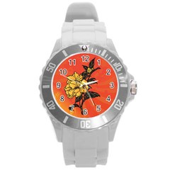 Vector Asian Flowers Round Plastic Sport Watch (l)