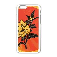 Vector Asian Flowers Apple Iphone 6/6s White Enamel Case