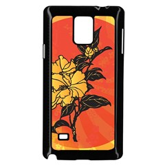 Vector Asian Flowers Samsung Galaxy Note 4 Case (black)