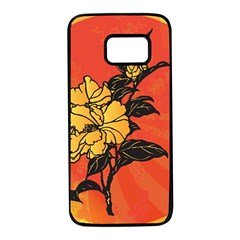 Vector Asian Flowers Samsung Galaxy S7 Black Seamless Case