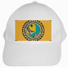 Madhubani Fish Indian Ethnic Pattern White Cap