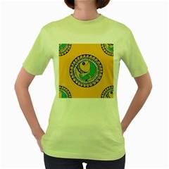 Madhubani Fish Indian Ethnic Pattern Women s Green T Shirt