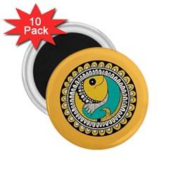 Madhubani Fish Indian Ethnic Pattern 2 25  Magnets (10 Pack)