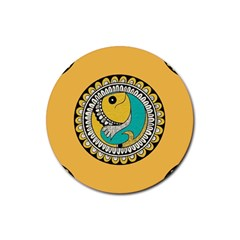 Madhubani Fish Indian Ethnic Pattern Rubber Round Coaster (4 Pack)