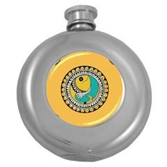 Madhubani Fish Indian Ethnic Pattern Round Hip Flask (5 Oz)