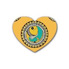 Madhubani Fish Indian Ethnic Pattern Heart Coaster (4 Pack)