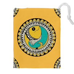 Madhubani Fish Indian Ethnic Pattern Drawstring Pouches (xxl)