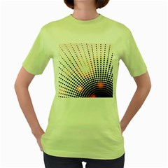 Radial Dotted Lights Women s Green T Shirt