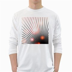 Radial Dotted Lights White Long Sleeve T Shirts