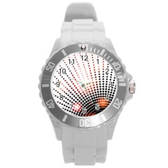 Radial Dotted Lights Round Plastic Sport Watch (l)