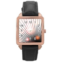 Radial Dotted Lights Rose Gold Leather Watch