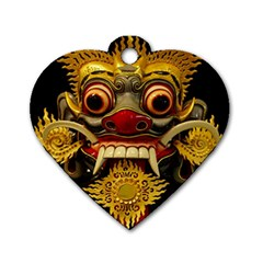 Bali Mask Dog Tag Heart (two Sides)