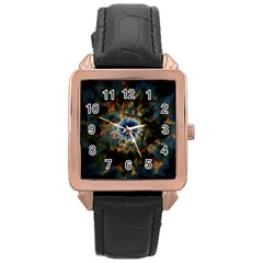 Crazy  Giant Galaxy Nebula Rose Gold Leather Watch