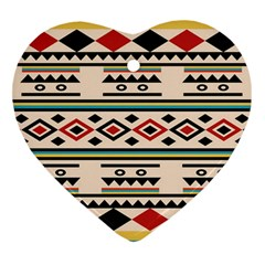 Tribal Pattern Heart Ornament (two Sides)