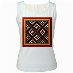 Toraja Pattern Pa re po  Sanguba ( Dancing Alone ) Women s White Tank Top