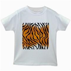 Tiger Skin Pattern Kids White T Shirts