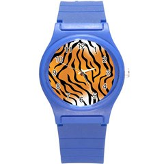 Tiger Skin Pattern Round Plastic Sport Watch (s)