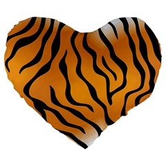 Tiger Skin Pattern Large 19  Premium Flano Heart Shape Cushions