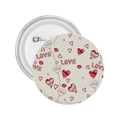 Pattern Hearts Kiss Love Lips Art Vector 2 25  Buttons